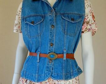 Denim Vest Vintage 80s Blue Stonewashed Belted Boho Indie Denim Jean Vest (s m)