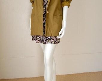 Slouchy Blazer Vintage 80s Olive Green Linen Oversized Slouchy Menswear Boho Indie Blazer Jacket (l xl)