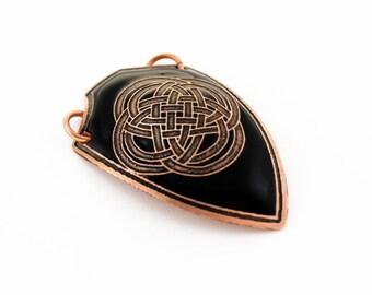 Shield pendant, Celtic pendant, knot work pendant, black pendant, black shield, men's pendant, gift for him, warrior pendant, alternative