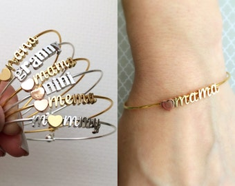 Build Your Own Bangle Bracelet - Any Charms Bracelet Mama Bracelet Mother Mommy Bangle Mothers Day Gift Bracelet Personalized Initial