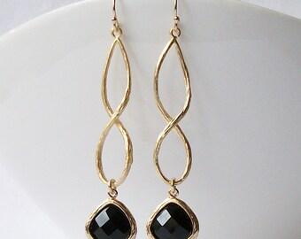 Black Crystal Infinity Drop Earrings