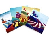 """Set of Blank Greeting Cards - 4 Different Colourful Designs - The """"Landscape Collection""""- by Amelie Gagne"""