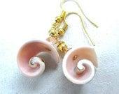 Boho Beach Wedding Jewelry Pink Bridal Earrings Bridesmaid Gift Natural Shells