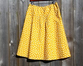Mustard Yellow and off white dot Skirt, Mustard, Ivory, Semi Gathered Skirt, A-line Skirt, Choose from Hip Sizes from 30 to 56+ inches