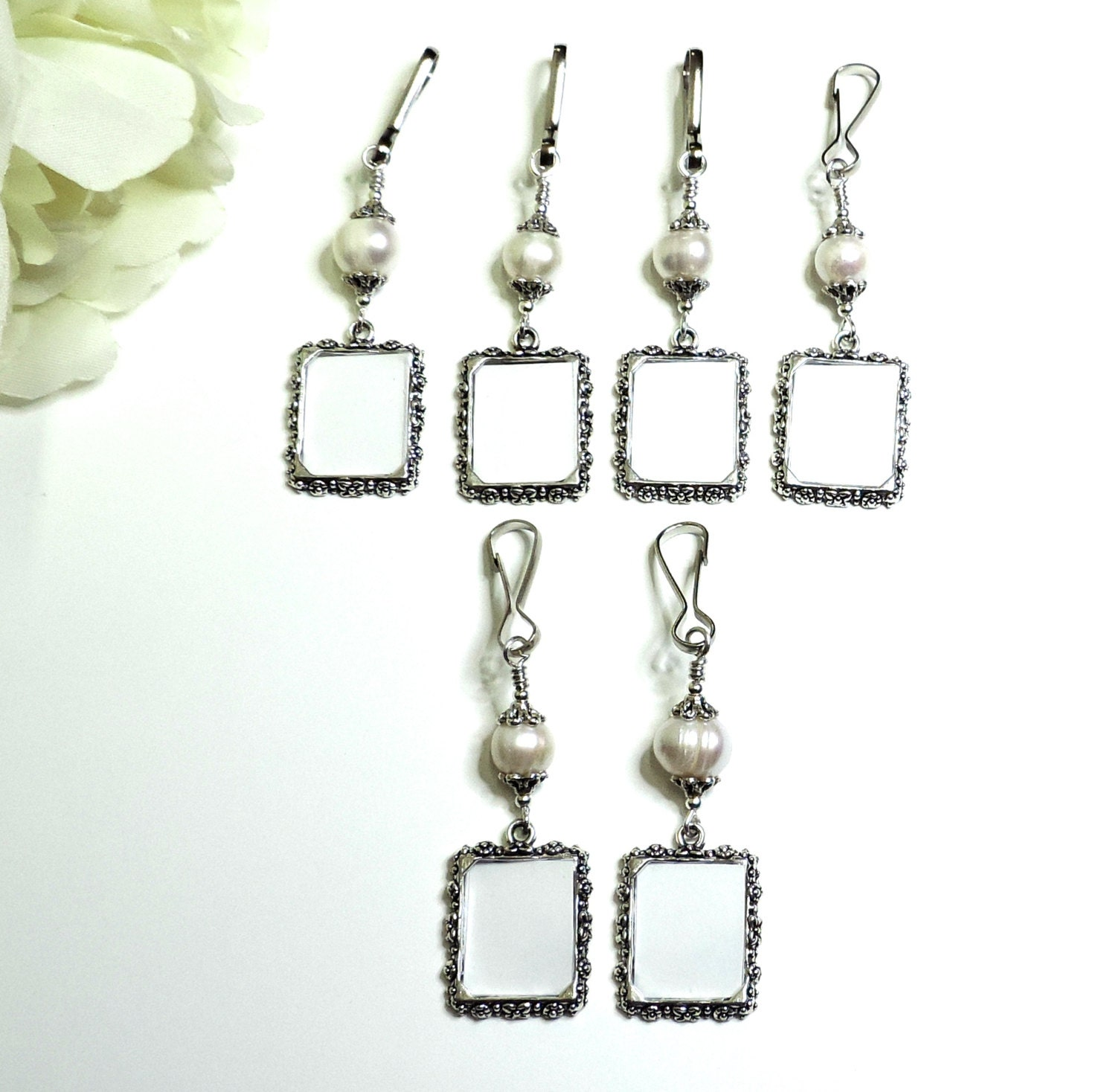 pearl wedding bouquet photo charms x6 memorial charms small