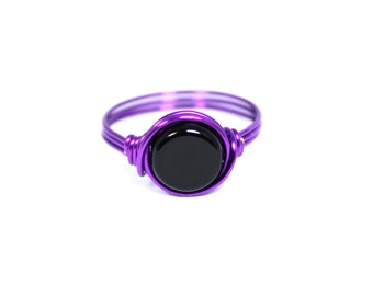 Purple Ring, Plum Ring, Black Ring, Wire Wrapped Ring, Deep Purple Ring, Purple Wire Ring, Purple Jewelry, Beaded Ring, Ring Size 4 - 14