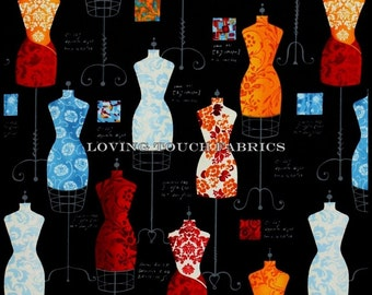 "Robert Kaufman ""Dress Up"" Mannequins Sewing Theme Cotton Fabric 1/2 Yd 18"" X 44"""