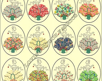 "12 Ladies Blue Hill ""Lady Grace"" Women Ladies Dresses Cotton Fabric Panel 35"" x 44"" #7386 Cream"