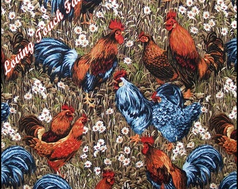 "Benartex ""Rooster Fields"" #1221 Roosters Chickens Cotton Fabric 1/2 yard 18"" x 44"""