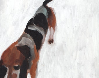 Dog in the snow white background- original acrylic painting painted on mdf -  animals art wall