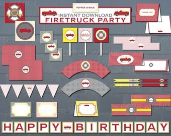 Firetruck Party Package - Grey, Red, Orange and Yellow - Printable PDF Files INSTANT DOWNLOAD -