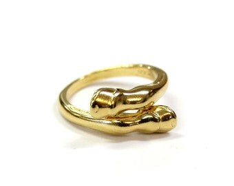 Horse Hoof Ring in Solid Bronze with 24K Gold Overlay  Gold Horse Hoof Ring 324