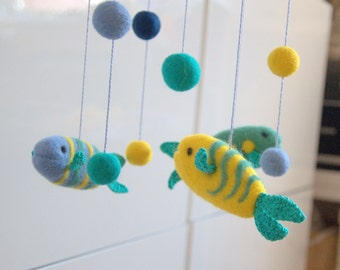 Baby crib mobile - Fish Mobile - felted mobile - felted fish mobile - nursery mobile crochet felted fish yellow blue teal decor