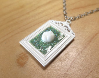 Mint Tooth Frame Necklace OOAK