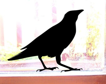 Raven Bird Window Stickers, Crow Wall Decals (2)