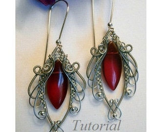 TUTORIAL Jewelry, Wire Wrapped Earrings, Marvelous Marquise, Handmade Jewelry Pattern