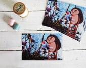 Hedgehog illustrated postcards set of 5