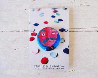 Mustache man pin, blue button brooch