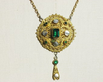 Fabulous Antique Green Czech Glass and Mother of Pearl Pendant Brass Lavalier Necklace