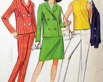McCall's 8767 - Cute Double-Breasted Suit, Jacket, Top, Pants, Skirt - Very 1960s MOD That Girl - Size 18 (Bust 38) - UNCUT