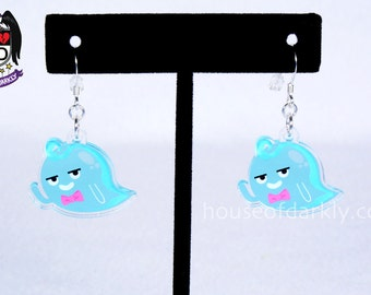 Dapper Waving Ghost with bow tie translucent acrylic earrings for paranormal fans nickel free
