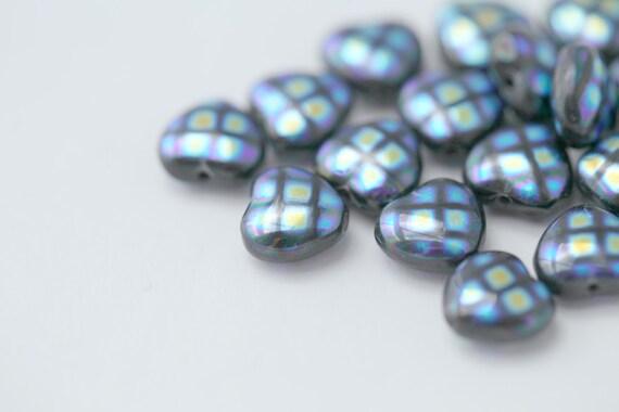 Czech Glass Blue Purple AB Peacock Heart Beads 9mm (20)