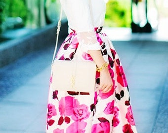 Miss Cynthia's Midi Skirt ~ printed sateen skirt with soft pleating ~ pockets at side seam
