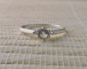 White Topaz Solitaire Ring Sterling Silver April Birthstone Ready to ship size 7