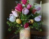 Easter or Spring Pink tulip arrangement