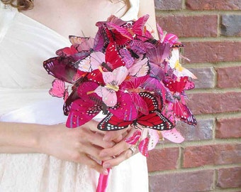 SALE PRICED Large Pink & Red Butterfly Bouquet for your Wedding, Ready To Ship!!