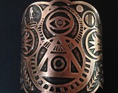 Alchemy Cuff - Etched Copper Cuff - Philosophers Stone - Occult symbols  - Coat of Arms - Family Seal- made in Austin, Tx