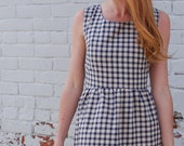 Sleeveless Gingham Dress- Fitted Vintage Inspired Dress in Navy Checks