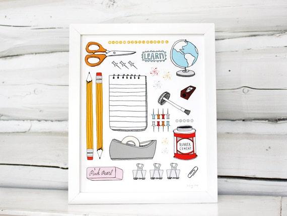 Modern Classroom Supplies ~ School supplies print teacher gift modern classroom decor