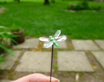 Glass Fairy garden accessory, micro miniature, fairy garden accessory, tiny dragonfly for fairy garden, terrarium supply, dollhouse mini