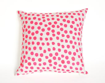 Polka Dot - hand printed repeat pattern, hot pink, organic dalmatian spot pillow