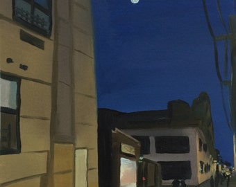 """Moon Over the Jefferson L, original oil painting on paper, 9"""" x 9"""""""