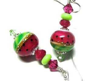 Watermelon Earrings, Lampwork Earrings, Glass Earrings, Artisan Earrings, Handmade Earrings, Pink Earrings, Green Earrings, Silver Earrings