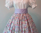 Long Skirt for Costume - Pioneer - Frontier - Civil War Reenactment - Victorian Tea - Floral Cotton Print - Pink & Lavender Flowers on White