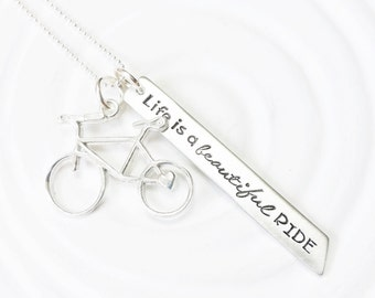 Life is a Beautiful Ride Necklace - Hand Stamped Bike Necklace - Bicycle Necklace - Inspirational Jewelry - Gift for Her - Cyclists Gift