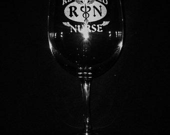11 Ounce Engraved Nurse Wine Glass