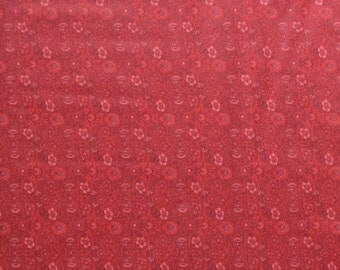 Cranberry Maroon Dark Red Flowers Floral Blender Quilter's Weight Cotton Print Fabric - One Yard - Yardage