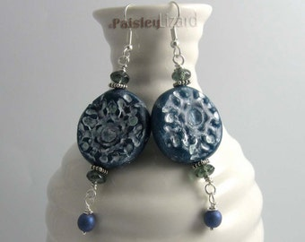Denim Blue Snowflake Earrings, rustic polymer clay and glass beaded dangles on silver plated wires