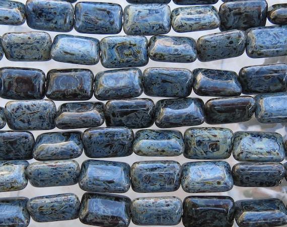 il 570xN.734739859 fk5i 12x8mm Opaque Black Granite Picasso Czech Glass Rectangle Beads   Qty 25 (BW443) by beadsandbabble