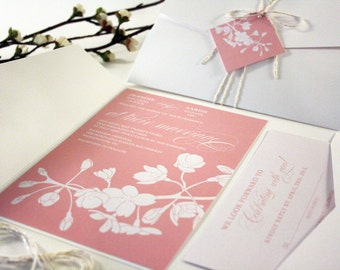 Cherry Blossom Wedding Invitation, Spring Wedding Invitations, Pocketfold, Tag Twine, Floral Pink, Vintage, Rustic, Tree Branch Invitation