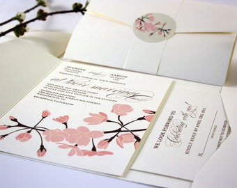 Cherry Blossom Wedding Invitations Sample, with Pocketfold, Twine and Tag