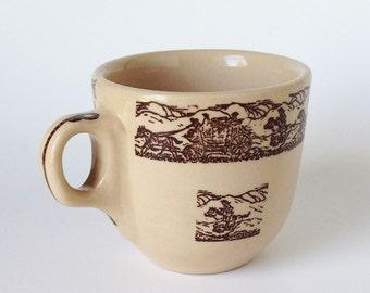Vintage Tepco Cowboy Stoneware Mug, Retro Coffe Cup, Restaurant ware