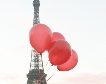 Red Balloons in Paris, Sunrise at the Eiffel Tower, Paris Photography, Spring in Paris, French Home Decor, Red