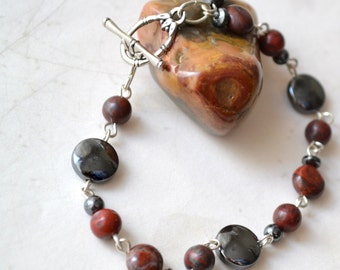 "Earth Energy Poppy Jasper Bracelet - Hematite, Silver Link - Handmade OOAK - 7.5"", Free US Shipping , Healing Gemstones, Brecciated, Peace"