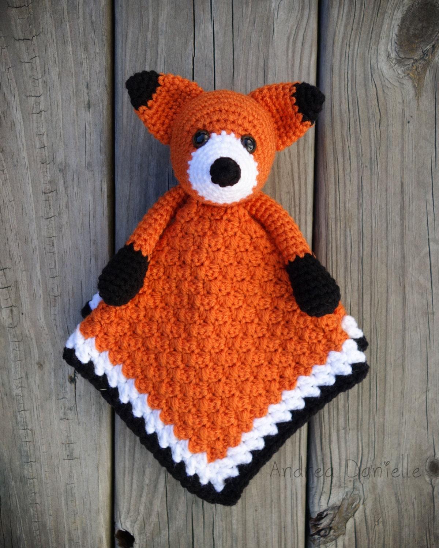 Flynn The Fox Crochet Lovey Security Blanket Orange Black