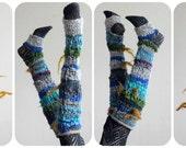 Yoga socks: knee high // handknit handspun fantasy faerie boho legwarmers armwarmers